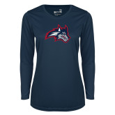 Ladies Syntrel Performance Navy Longsleeve Shirt-Wolfie Head