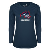 Ladies Syntrel Performance Navy Longsleeve Shirt-Wolfie Head and Stony Brook