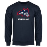 Navy Fleece Crew-Wolfie Head and Stony Brook
