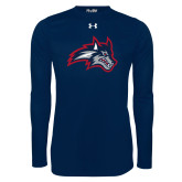 Under Armour Navy Long Sleeve Tech Tee-Wolfie Head