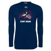 Under Armour Navy Long Sleeve Tech Tee-Wolfie Head and Stony Brook