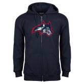 Navy Fleece Full Zip Hoodie-Wolfie Head