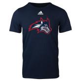 Adidas Navy Logo T Shirt-Wolfie Head