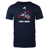 Adidas Navy Logo T Shirt-Wolfie Head and Stony Brook