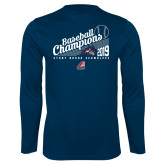 Performance Navy Longsleeve Shirt-2019 Baseball Champions