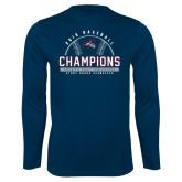 Performance Navy Longsleeve Shirt-2019 America East Baseball Champions