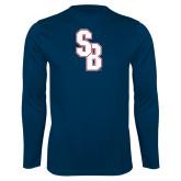 Performance Navy Longsleeve Shirt-Interlocking SB