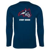 Performance Navy Longsleeve Shirt-Wolfie Head and Stony Brook