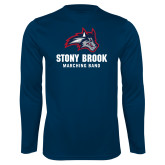 Performance Navy Longsleeve Shirt-Wolfie Head Stony Book Marching Band