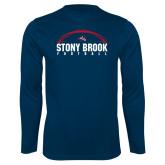 Performance Navy Longsleeve Shirt-Football Stacked