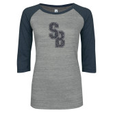 ENZA Ladies Athletic Heather/Navy Vintage Baseball Tee-Interlocking SB Graphite Soft Glitter
