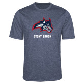 Performance Navy Heather Contender Tee-Wolfie Head and Stony Brook