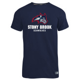 Russell Navy Essential T Shirt-Wolfie Head and Stony Brook Seawolves