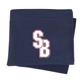Navy Sweatshirt Blanket-Interlocking SB