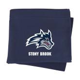 Navy Sweatshirt Blanket-Wolfie Head and Stony Brook
