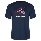 Performance Navy Tee-Wolfie Head and Stony Brook