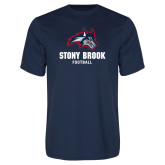 Performance Navy Tee-Wolfie Head Stony Book Football