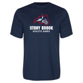 Performance Navy Tee-Wolfie Head Stony Book Athletic Bands