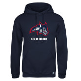Russell DriPower Navy Fleece Hoodie-Wolfie Head and Stony Brook