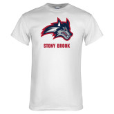 White T Shirt-Wolfie Head and Stony Brook