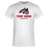 White T Shirt-Wolfie Head and Stony Brook Seawolves