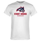 White T Shirt-Wolfie Head and Stony Brook Seawolves