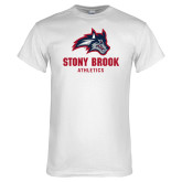 White T Shirt-Wolfie Head and Stony Brook Athletics