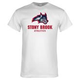 White T Shirt-Wolfie Head and Stony Brook Athletics