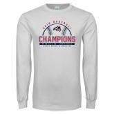 White Long Sleeve T Shirt-2019 America East Baseball Champions
