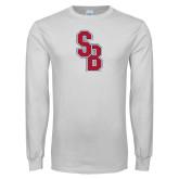 White Long Sleeve T Shirt-Interlocking SB