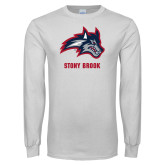 White Long Sleeve T Shirt-Wolfie Head and Stony Brook