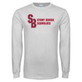 White Long Sleeve T Shirt-Interlocking SB Stony Brook Seawolves