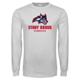 White Long Sleeve T Shirt-Wolfie Head and Stony Brook Seawolves