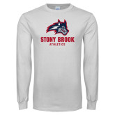 White Long Sleeve T Shirt-Wolfie Head and Stony Brook Athletics