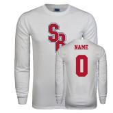 White Long Sleeve T Shirt-Interlocking SB, Custom Tee w/ Name and #