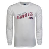 White Long Sleeve T Shirt-Stony Brook Seawolves, Personalized Year