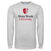 White Long Sleeve T Shirt-University Mark Vertical