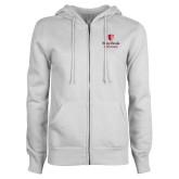 ENZA Ladies White Fleece Full Zip Hoodie-University Mark Vertical