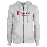 ENZA Ladies White Fleece Full Zip Hoodie-University Mark Stacked