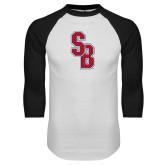 White/Black Raglan Baseball T Shirt-Interlocking SB
