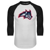 White/Black Raglan Baseball T Shirt-Wolfie Head