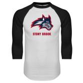 White/Black Raglan Baseball T Shirt-Wolfie Head and Stony Brook