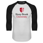 White/Black Raglan Baseball T Shirt-University Mark Vertical