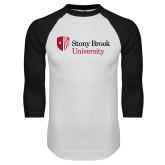 White/Black Raglan Baseball T Shirt-University Mark Stacked