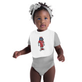 White Baby Bib-Illustrated Soccer Wolfie