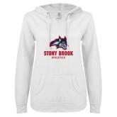 ENZA Ladies White V Notch Raw Edge Fleece Hoodie-Wolfie Head and Stony Brook Athletics