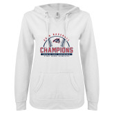 ENZA Ladies White V Notch Raw Edge Fleece Hoodie-2019 America East Baseball Champions