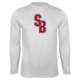 Performance White Longsleeve Shirt-Interlocking SB