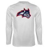 Performance White Longsleeve Shirt-Wolfie Head