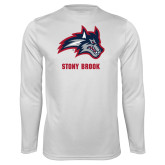 Performance White Longsleeve Shirt-Wolfie Head and Stony Brook